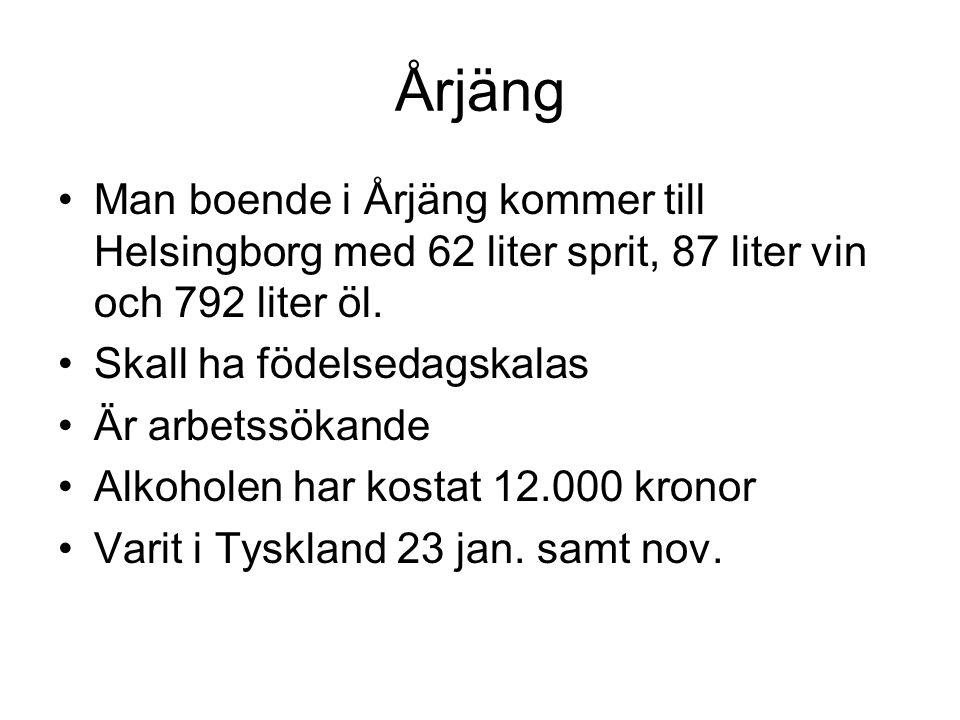 Årjäng Man boende i Årjäng kommer till Helsingborg med 62 liter sprit, 87 liter vin och 792 liter öl.