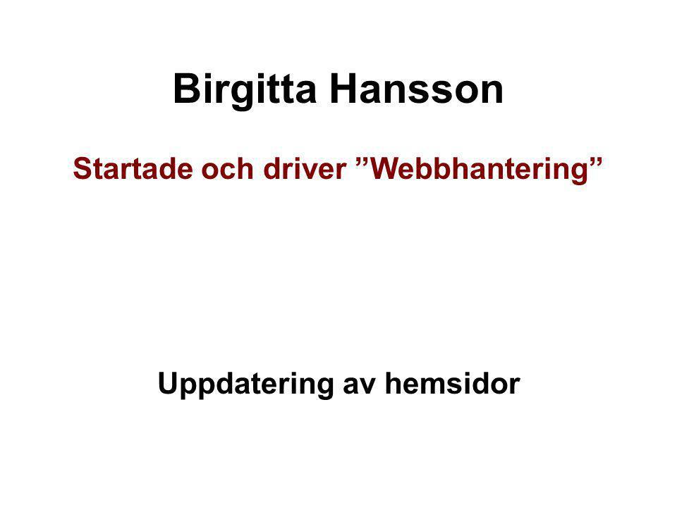 Startade och driver Webbhantering Uppdatering av hemsidor