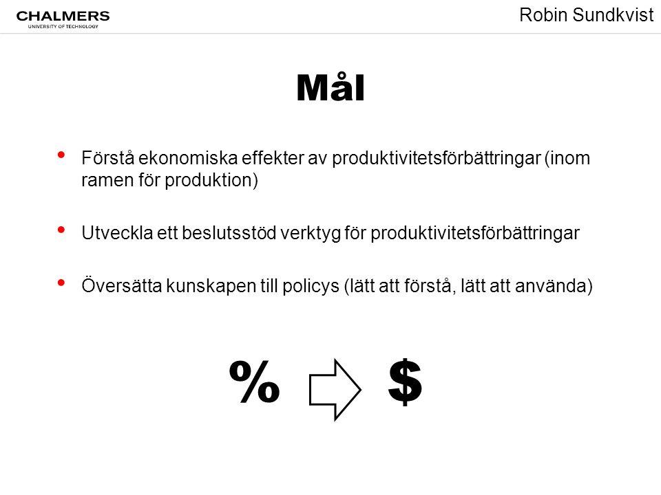 Mål Förstå ekonomiska effekter av produktivitetsförbättringar (inom ramen för produktion)
