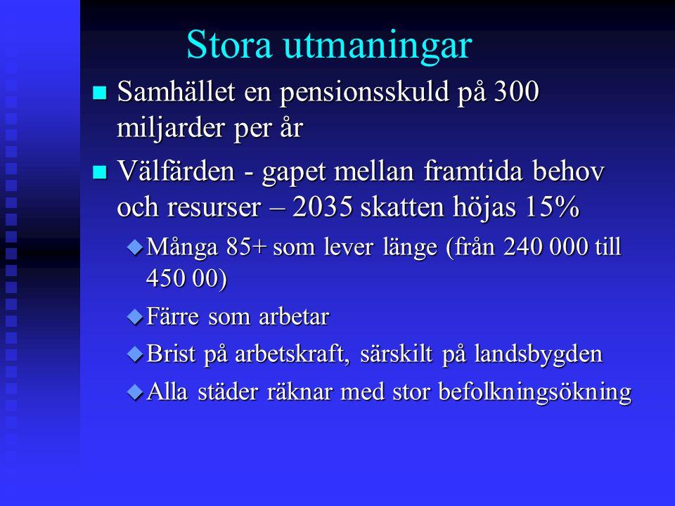 Stora utmaningar Samhället en pensionsskuld på 300 miljarder per år