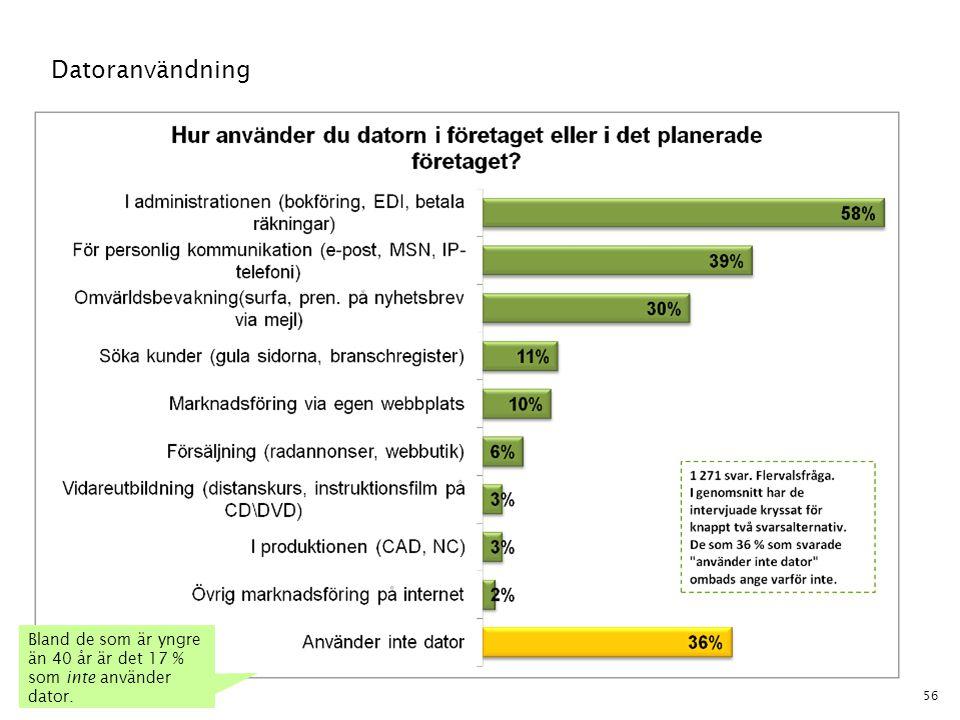 Datoranvändning Bland de som är yngre än 40 år är det 17 % som inte använder dator.