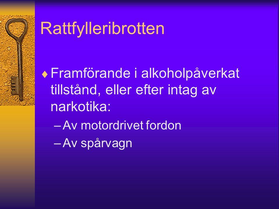 Rattfylleribrotten Framförande i alkoholpåverkat tillstånd, eller efter intag av narkotika: Av motordrivet fordon.