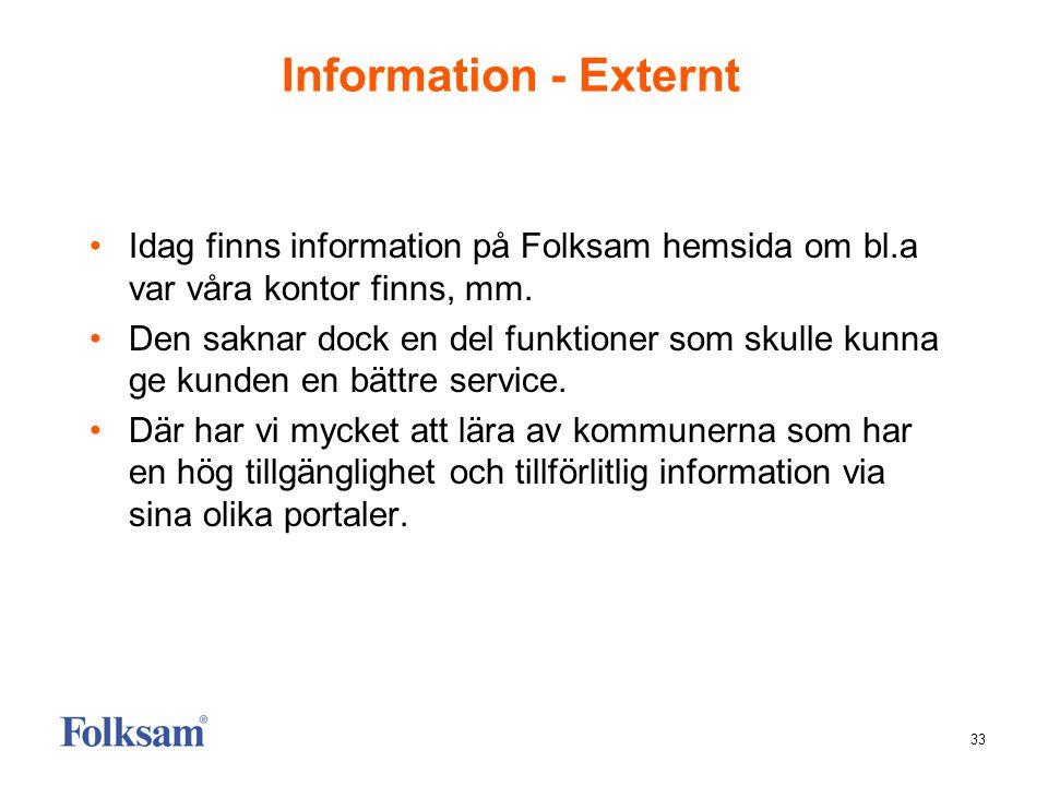 Information - Externt Idag finns information på Folksam hemsida om bl.a var våra kontor finns, mm.