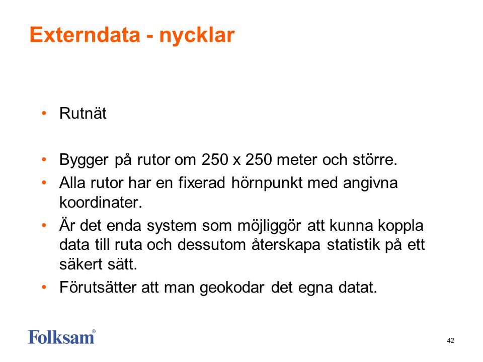 Externdata - nycklar Rutnät