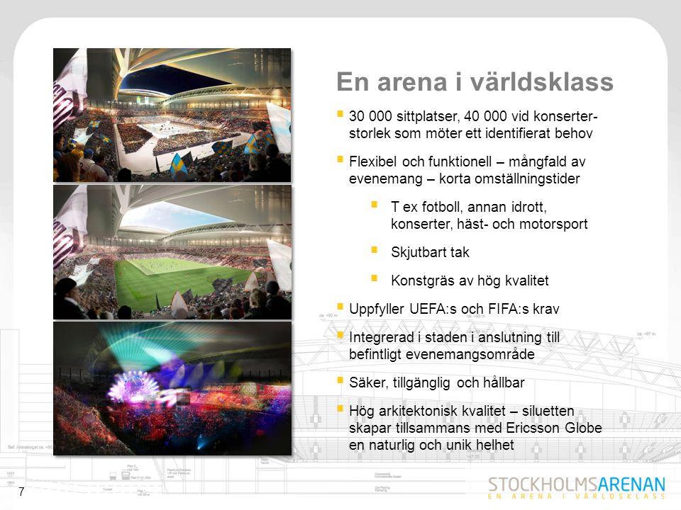 En arena i världsklass 30 000 sittplatser, 40 000 vid konserter- storlek som möter ett identifierat behov.