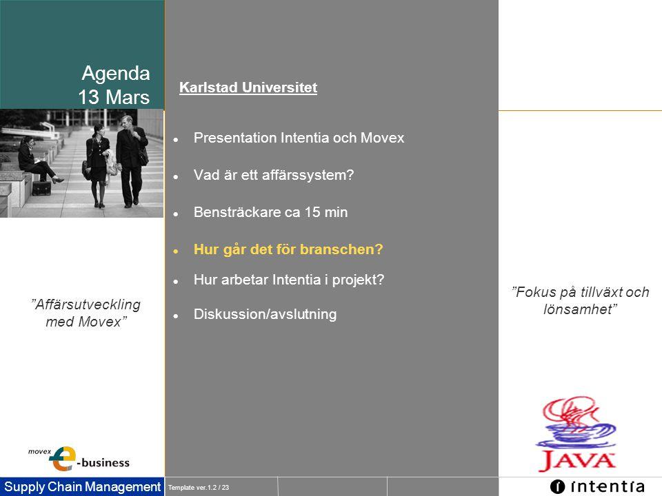 Agenda 13 Mars Karlstad Universitet Presentation Intentia och Movex