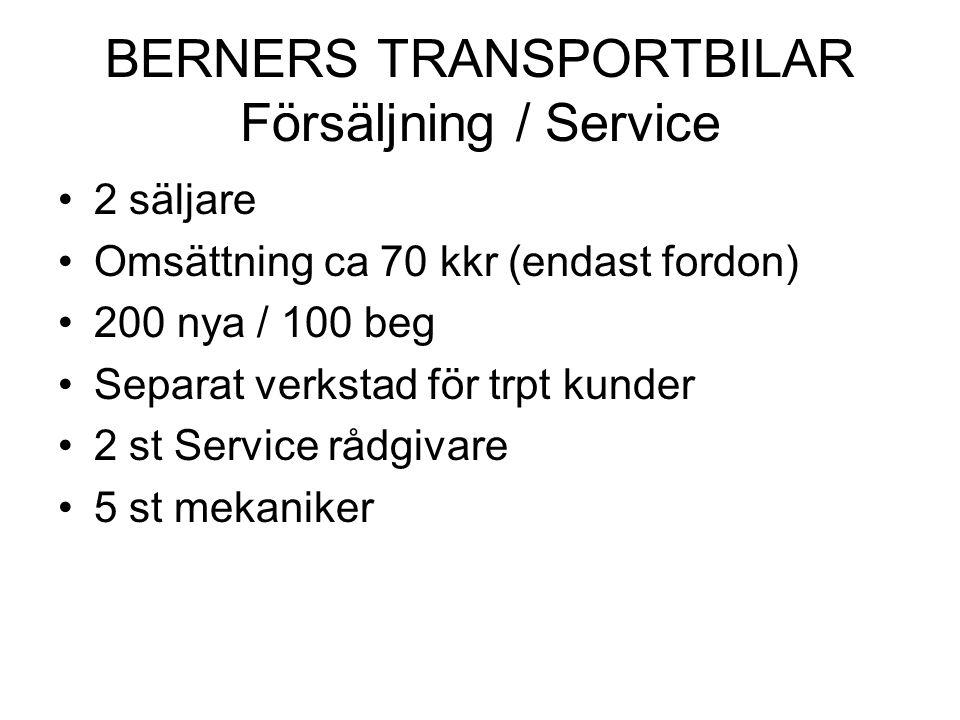 BERNERS TRANSPORTBILAR Försäljning / Service