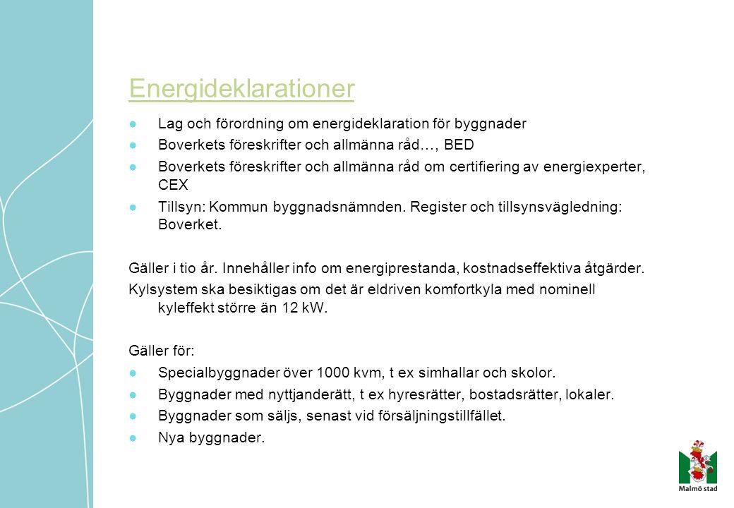 Energideklarationer Lag och förordning om energideklaration för byggnader. Boverkets föreskrifter och allmänna råd…, BED.