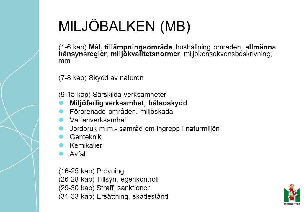 MILJÖBALKEN (MB) (1-6 kap) Mål, tillämpningsområde, hushållning områden, allmänna hänsynsregler, miljökvalitetsnormer, miljökonsekvensbeskrivning, mm.