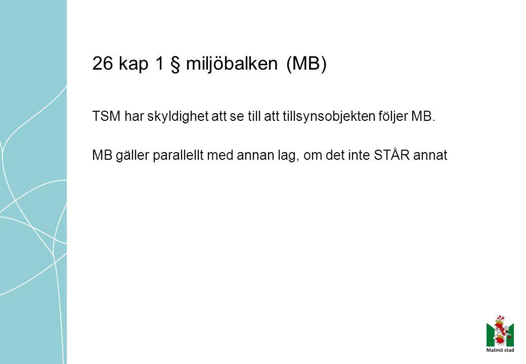 26 kap 1 § miljöbalken (MB) TSM har skyldighet att se till att tillsynsobjekten följer MB.