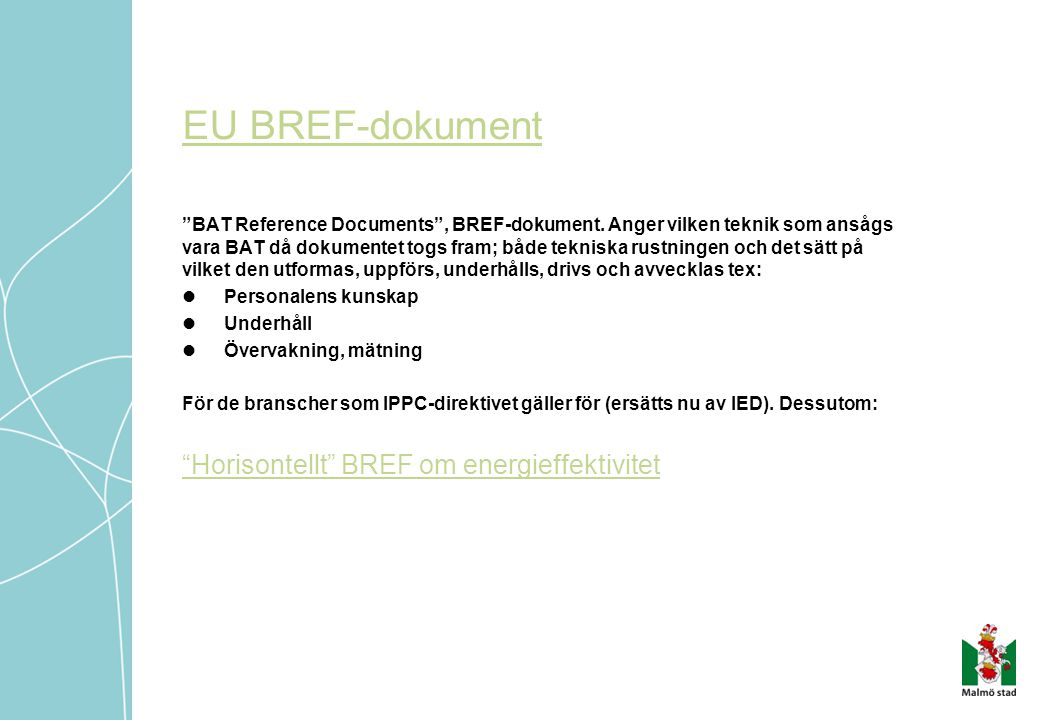 EU BREF-dokument Horisontellt BREF om energieffektivitet