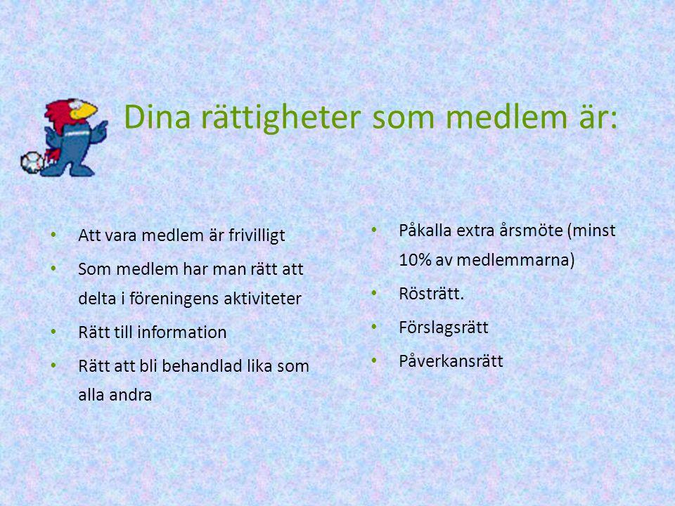 Dina rättigheter som medlem är:
