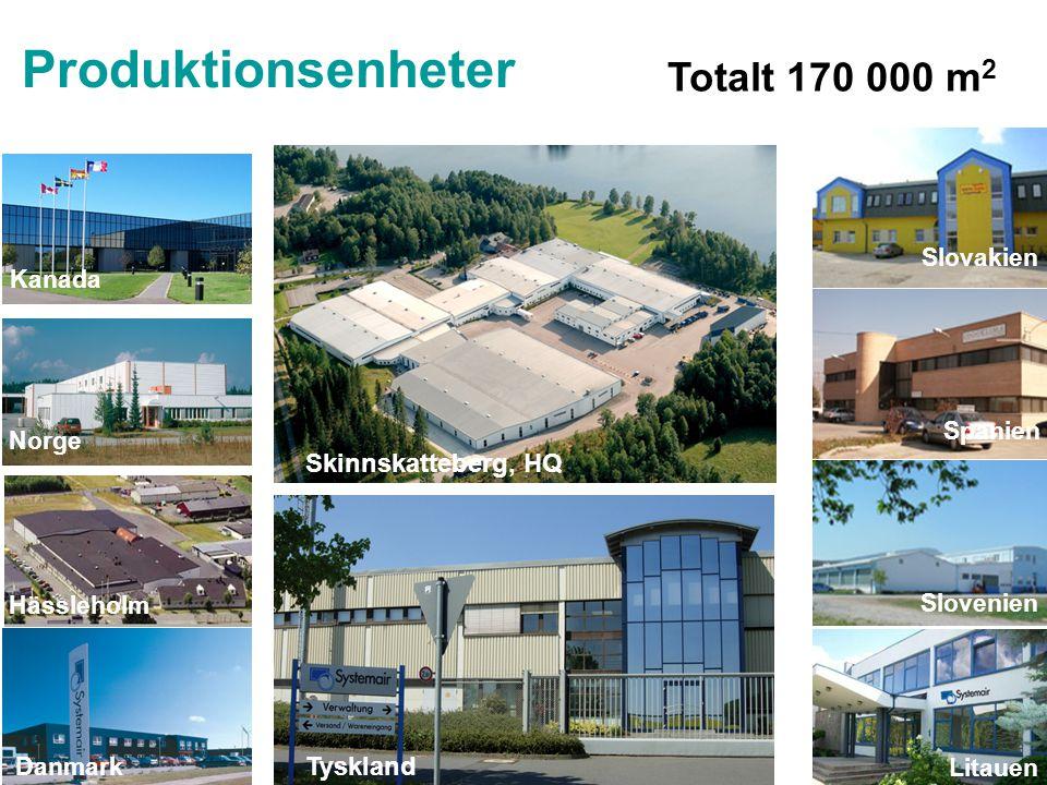 Produktionsenheter Totalt 170 000 m2 Skinnskatteberg, HQ Tyskland