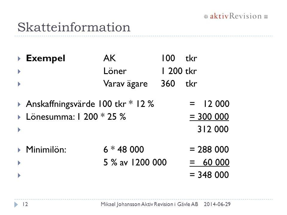 Skatteinformation Exempel AK 100 tkr Löner 1 200 tkr