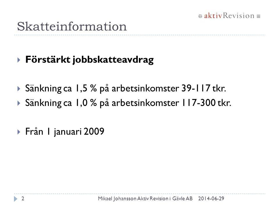 Skatteinformation Förstärkt jobbskatteavdrag