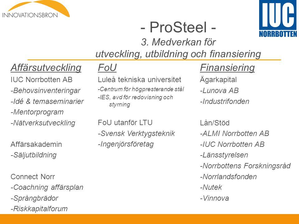 ProSteel - 3. Medverkan för utveckling, utbildning och finansiering
