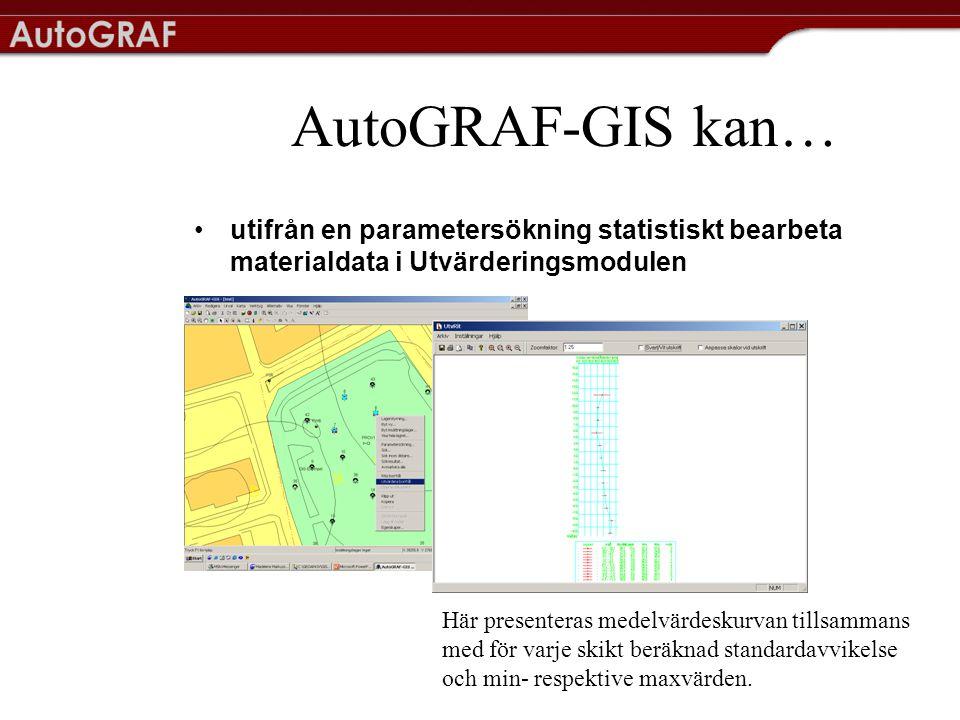 AutoGRAF-GIS kan… utifrån en parametersökning statistiskt bearbeta materialdata i Utvärderingsmodulen.
