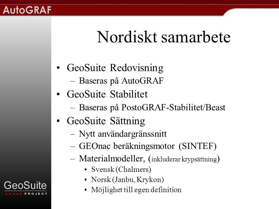 Nordiskt samarbete GeoSuite Redovisning GeoSuite Stabilitet