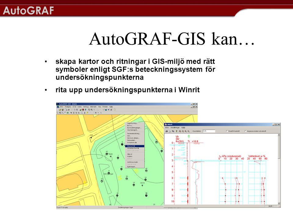 AutoGRAF-GIS kan… skapa kartor och ritningar i GIS-miljö med rätt symboler enligt SGF:s beteckningssystem för undersökningspunkterna.