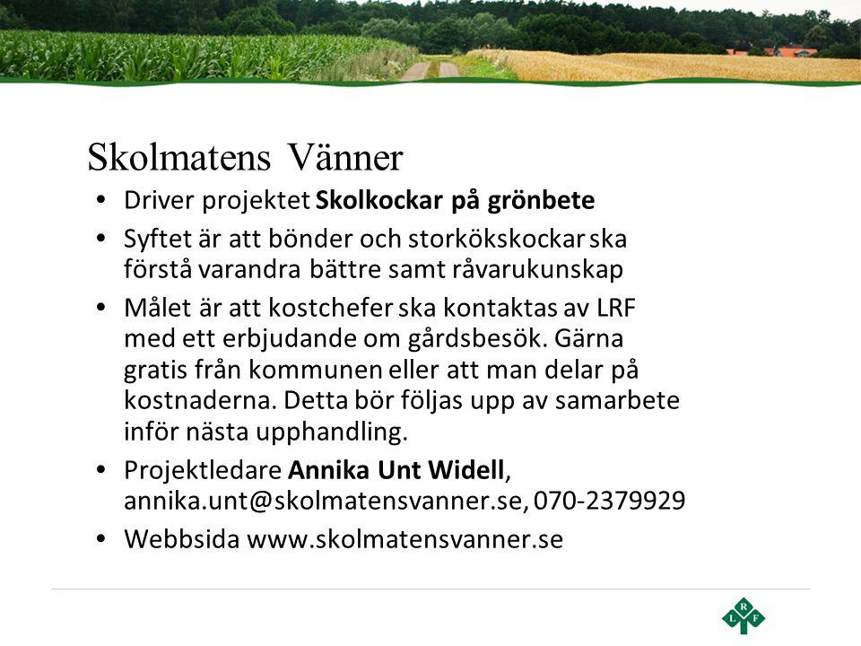 Skolmatens Vänner Driver projektet Skolkockar på grönbete