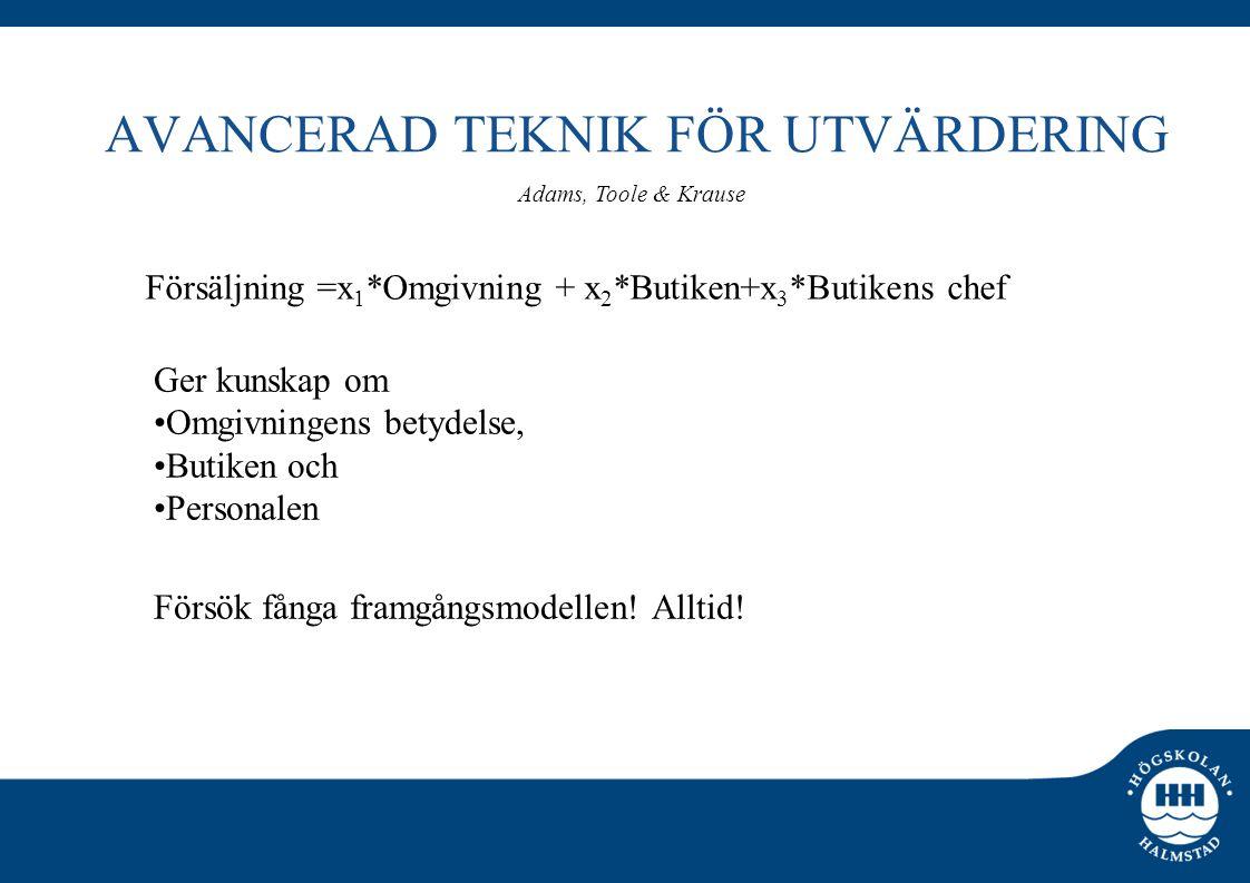AVANCERAD TEKNIK FÖR UTVÄRDERING