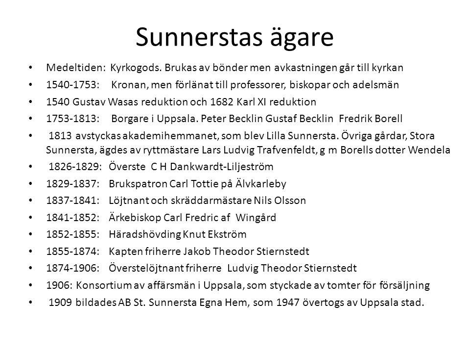 Sunnerstas ägare Medeltiden: Kyrkogods. Brukas av bönder men avkastningen går till kyrkan.