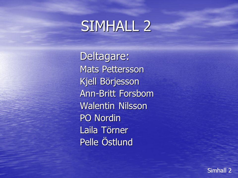SIMHALL 2 Deltagare: Mats Pettersson Kjell Börjesson Ann-Britt Forsbom