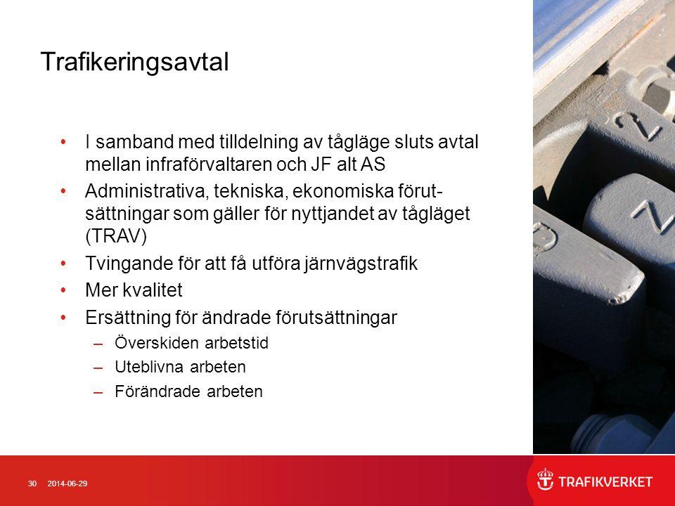 Trafikeringsavtal I samband med tilldelning av tågläge sluts avtal mellan infraförvaltaren och JF alt AS.