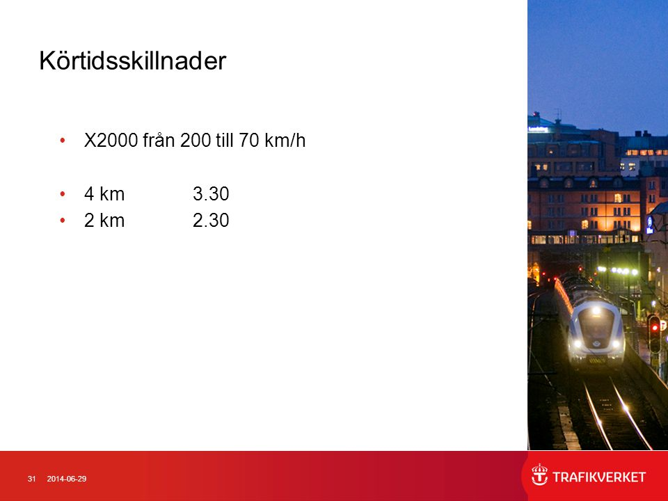 Körtidsskillnader X2000 från 200 till 70 km/h 4 km 3.30 2 km 2.30