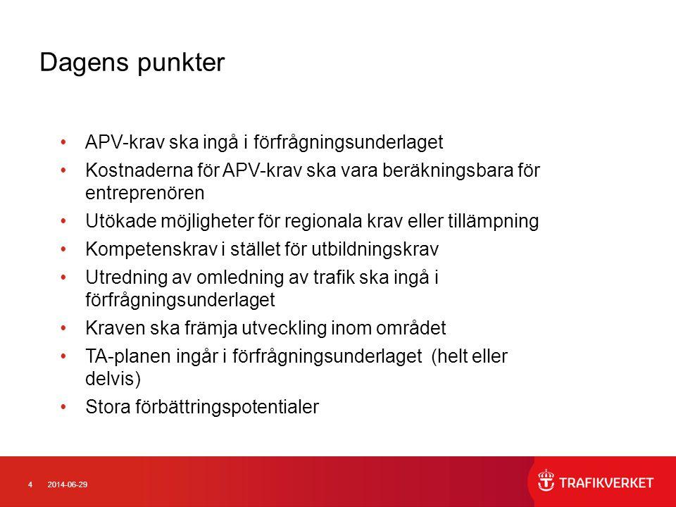 Dagens punkter APV-krav ska ingå i förfrågningsunderlaget