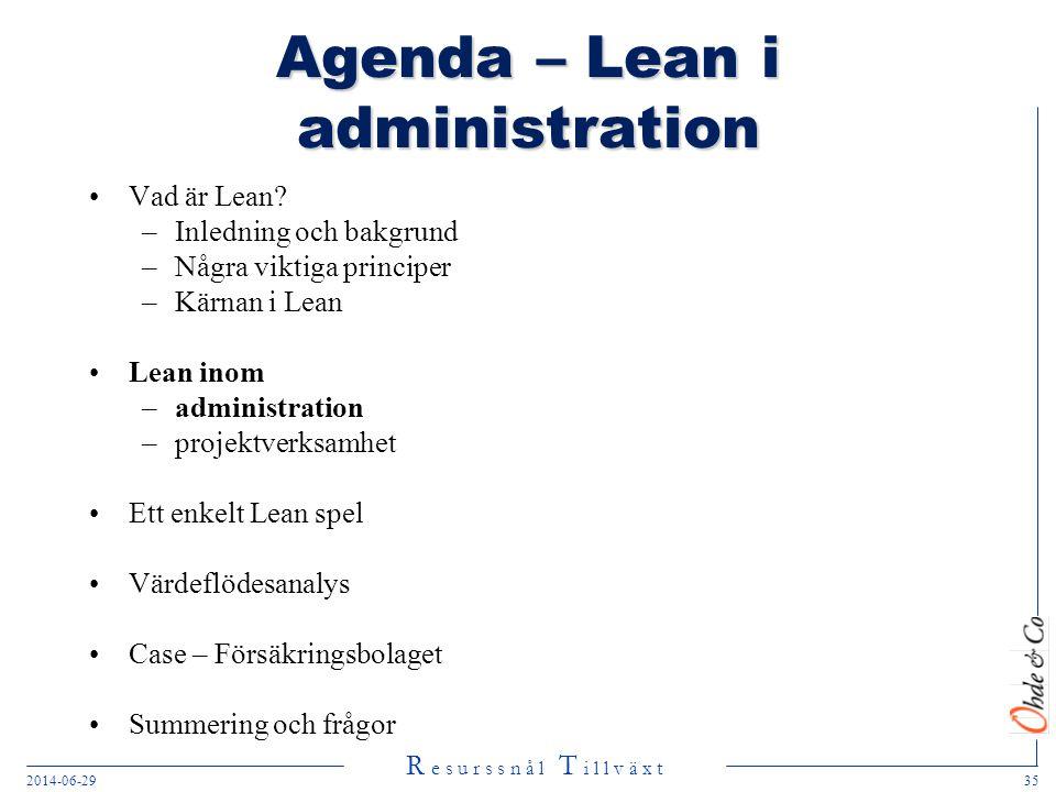 Agenda – Lean i administration
