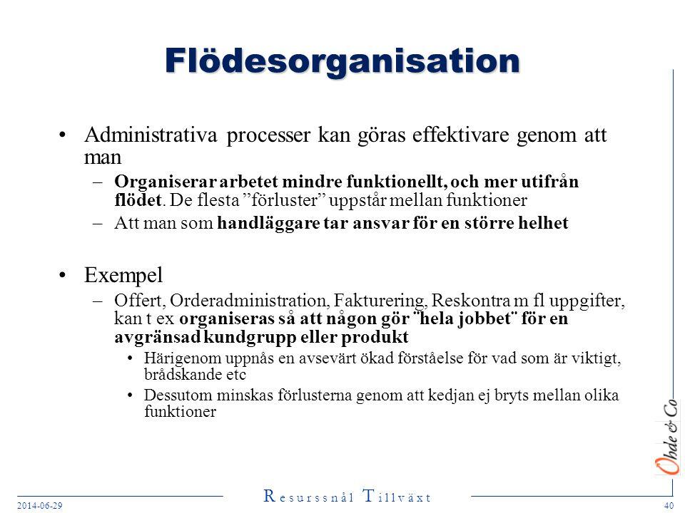 Flödesorganisation Administrativa processer kan göras effektivare genom att man.