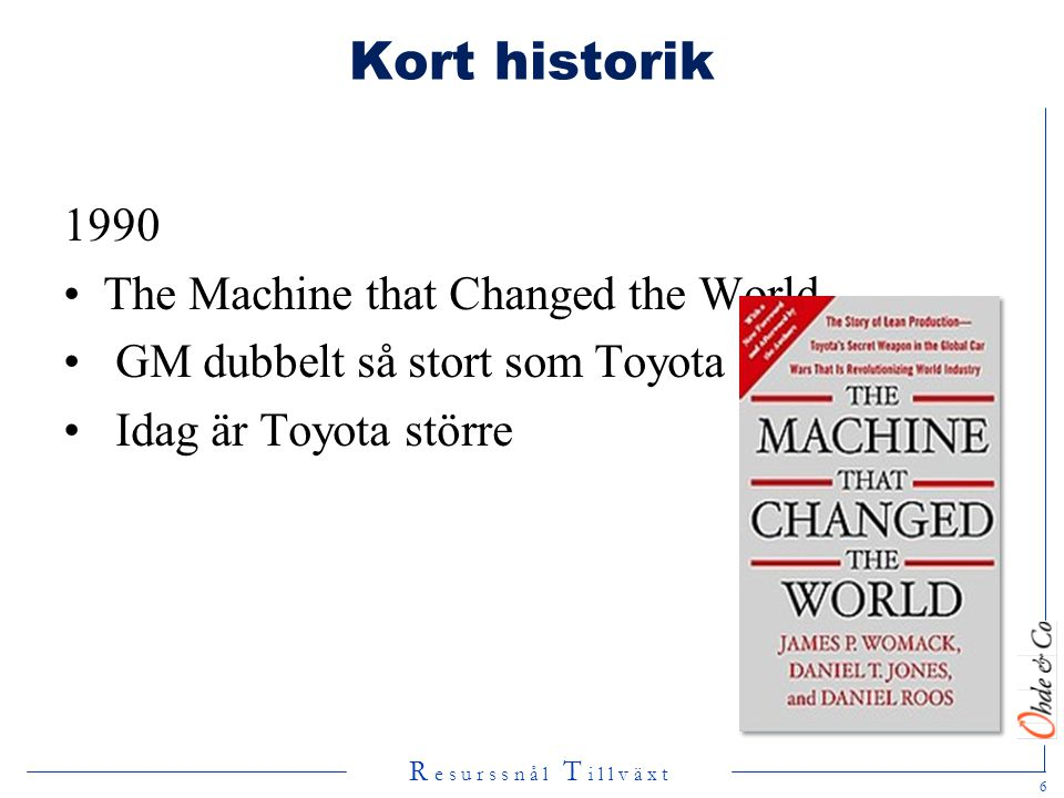 Kort historik 1990 The Machine that Changed the World