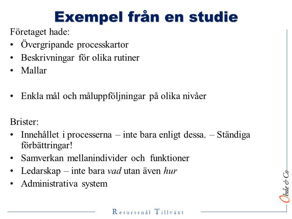 Exempel från en studie Företaget hade: Övergripande processkartor