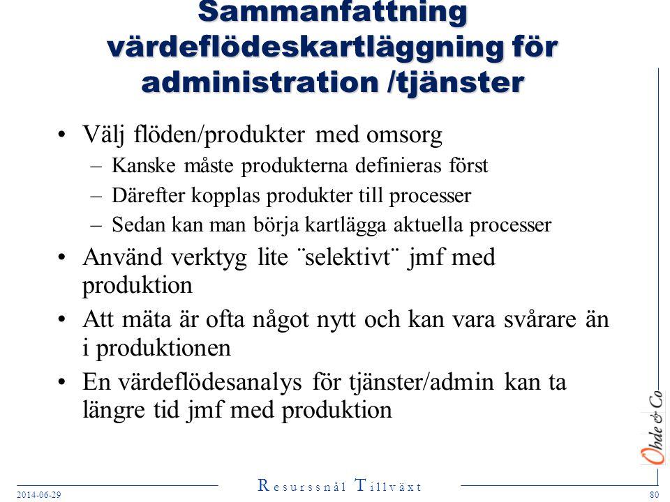 Sammanfattning värdeflödeskartläggning för administration /tjänster