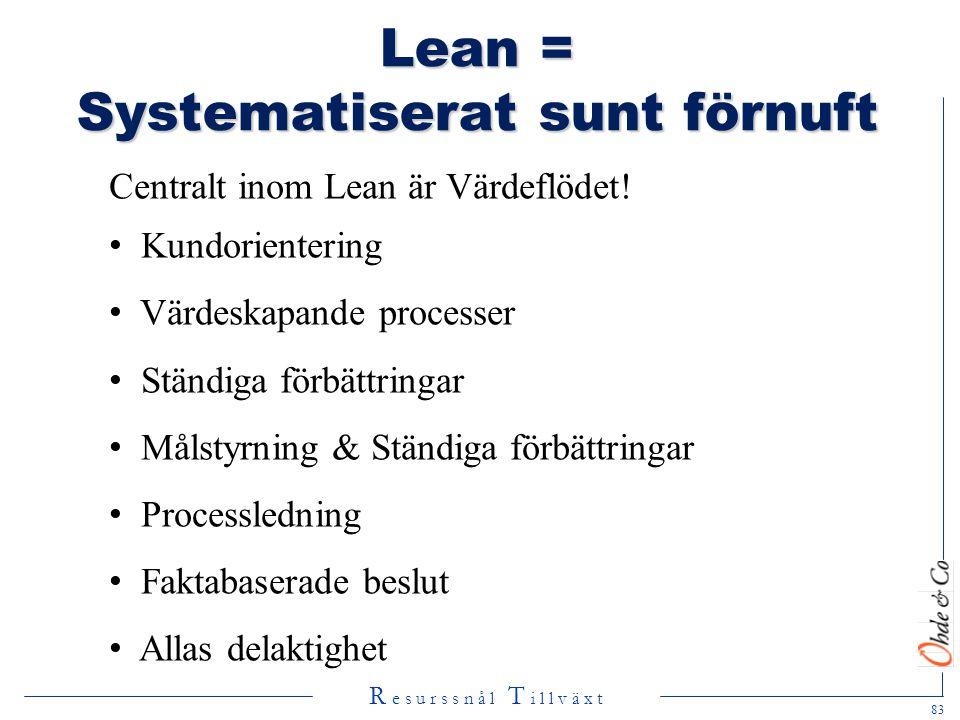 Lean = Systematiserat sunt förnuft