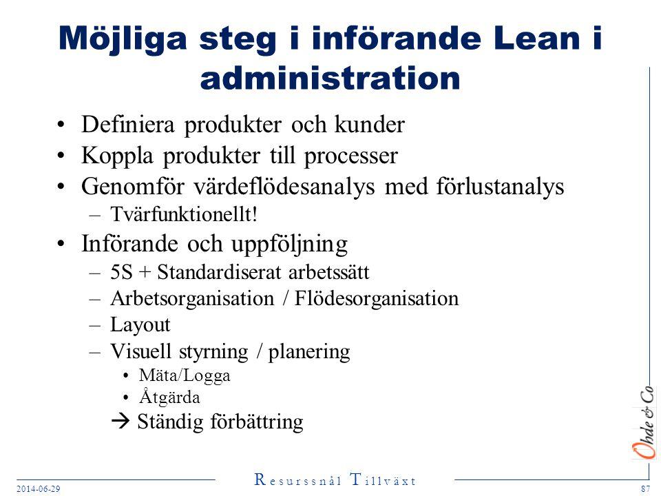 Möjliga steg i införande Lean i administration