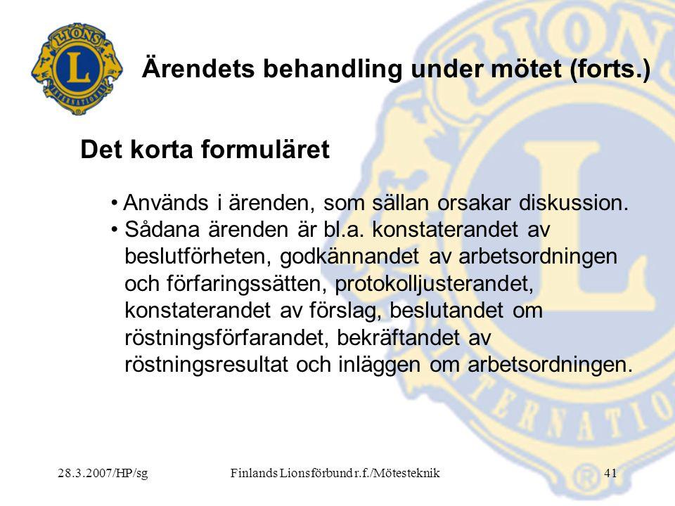Finlands Lionsförbund r.f./Mötesteknik