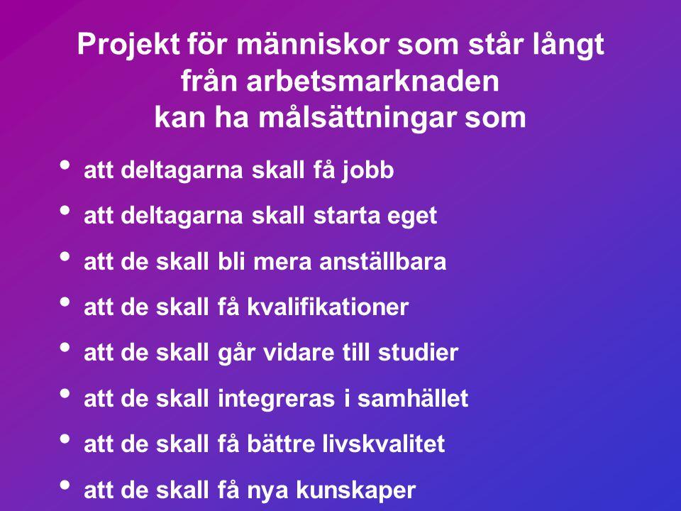 Projekt för människor som står långt från arbetsmarknaden kan ha målsättningar som
