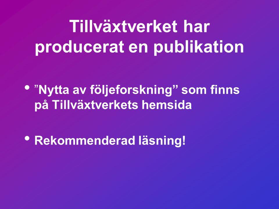 Tillväxtverket har producerat en publikation