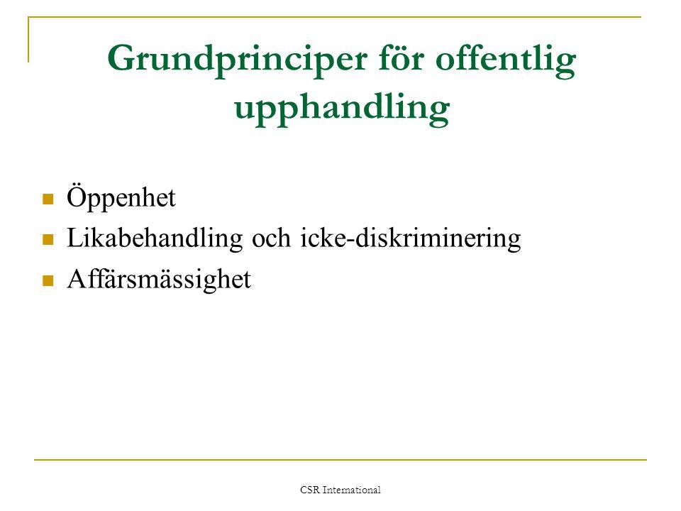 Grundprinciper för offentlig upphandling