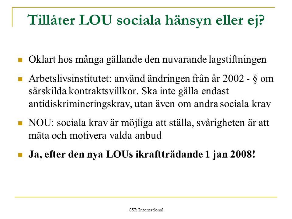 Tillåter LOU sociala hänsyn eller ej