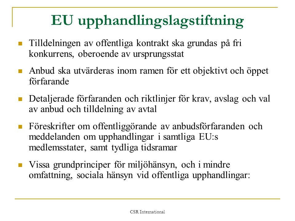 EU upphandlingslagstiftning