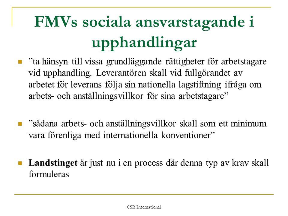 FMVs sociala ansvarstagande i upphandlingar