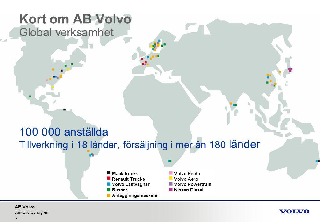 Kort om AB Volvo Global verksamhet 100 000 anställda Tillverkning i 18 länder, försäljning i mer än 180 länder
