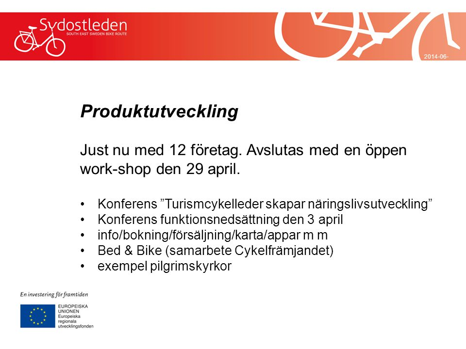 2017-04-032017-04-03 Produktutveckling. Just nu med 12 företag. Avslutas med en öppen work-shop den 29 april.