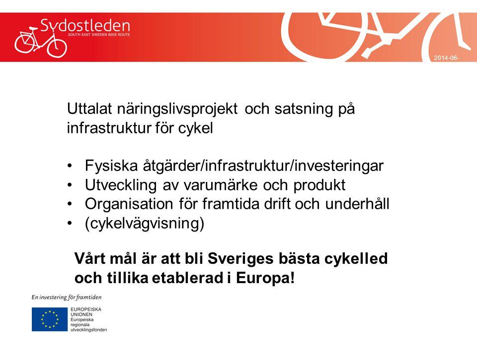 Uttalat näringslivsprojekt och satsning på infrastruktur för cykel
