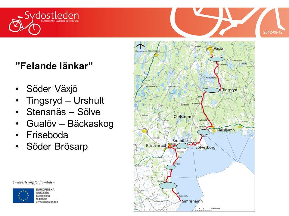 Felande länkar Söder Växjö Tingsryd – Urshult Stensnäs – Sölve