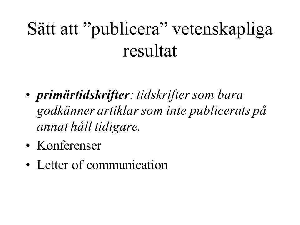 Sätt att publicera vetenskapliga resultat