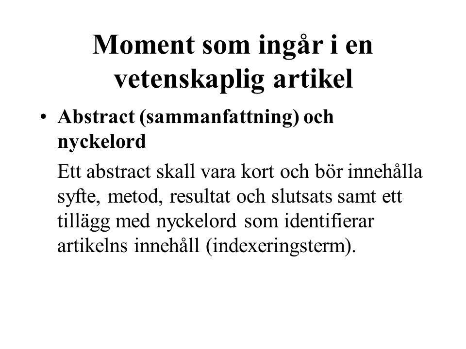 Moment som ingår i en vetenskaplig artikel